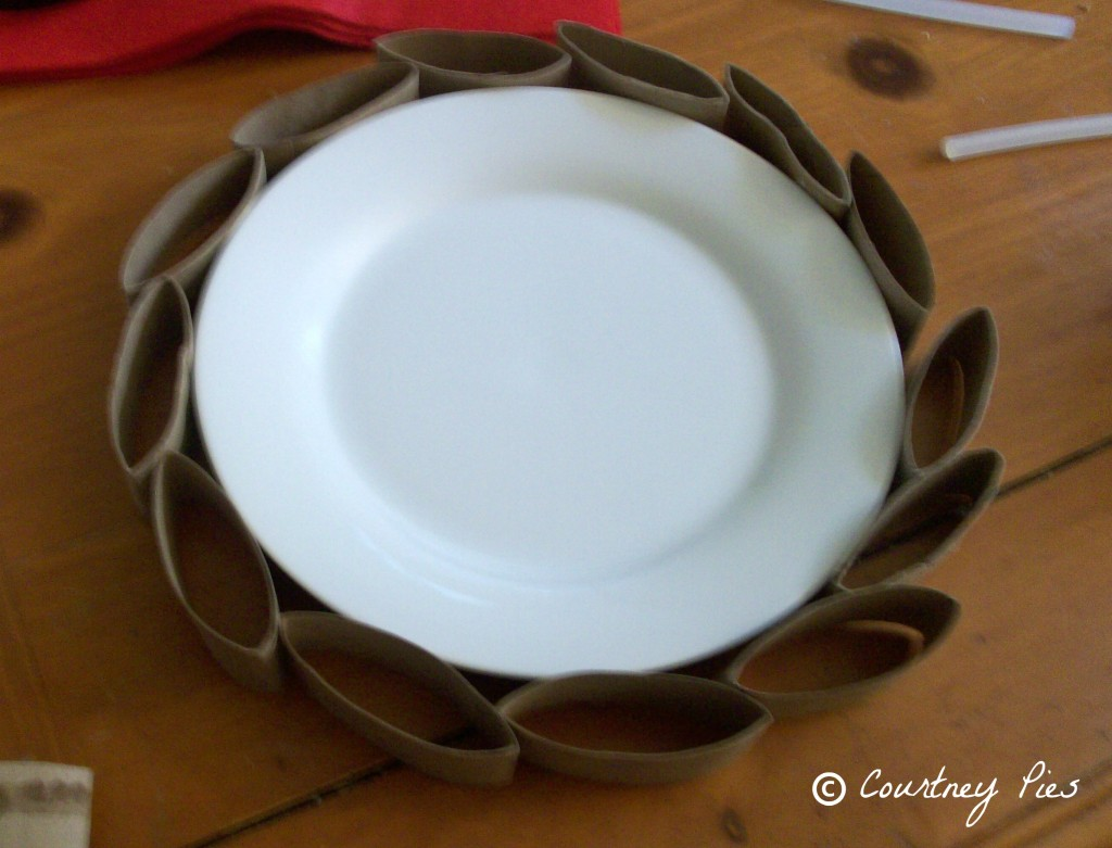 plate with toilet paper wreath around it