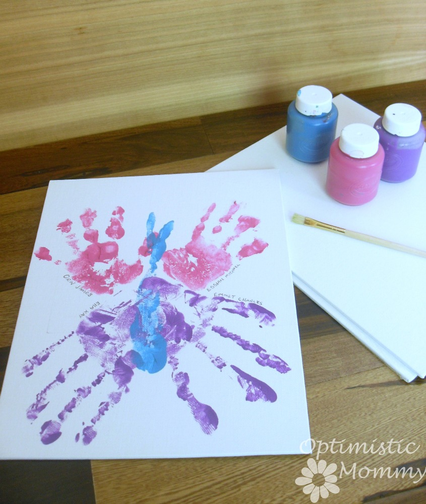 Father's Day Crafts - Hand Print Canvas Gift for Dad | Optimistic Mommy