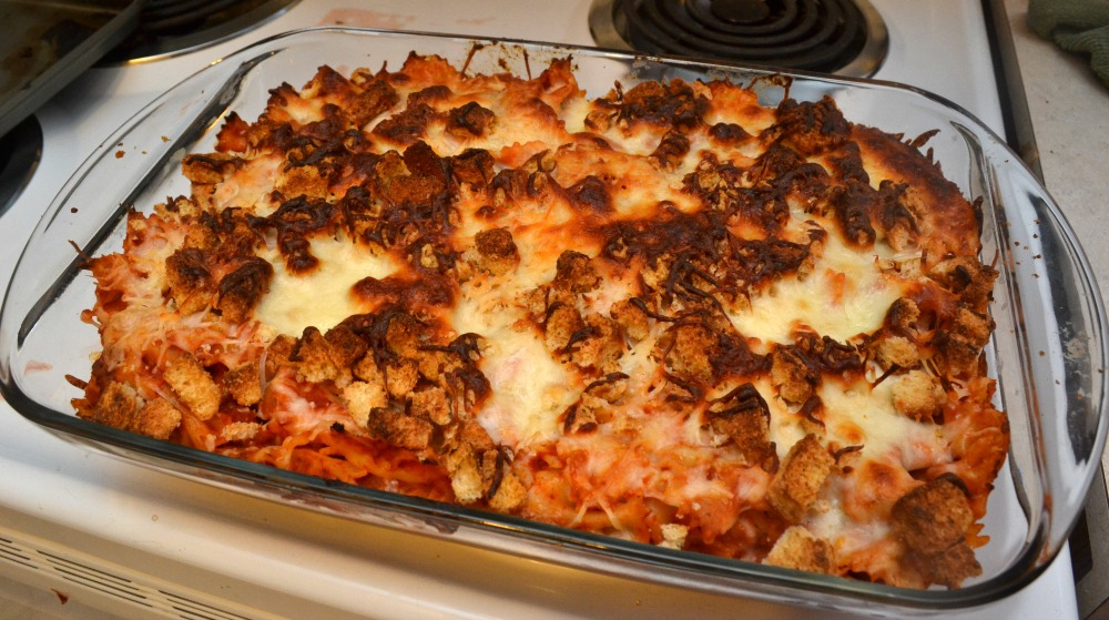 Chicken Parmesan Bake Featuring Chick-fil-A Chick-n-Strips Tray | Optimistic Mommy