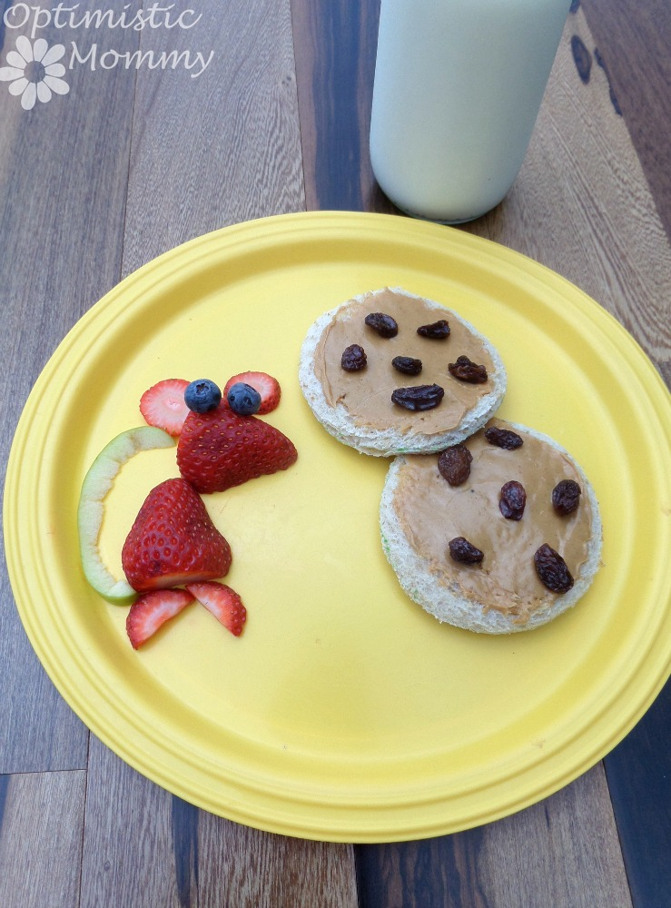 Open Face Peanut Butter Raisin Sandwiches Fruit Mouse