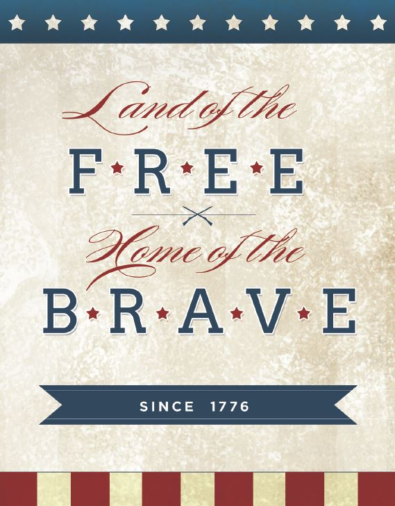 Land Of The Free Sign Patriotic Printables   Optimistic Mommy
