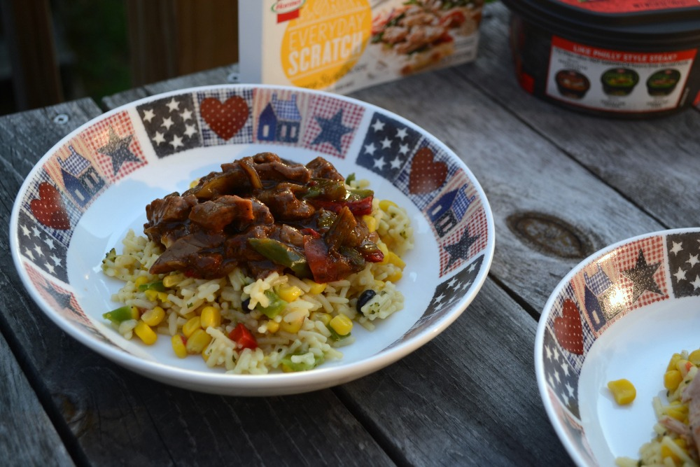 Cheesy Chicken or Steak Rice & Vegetable Bowl Recipe #NewFromHormel #Shop | Optimistic Mommy