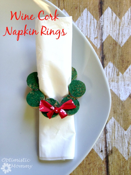 These wine cork napkin rings are easy to make and festive for the Christmas season!