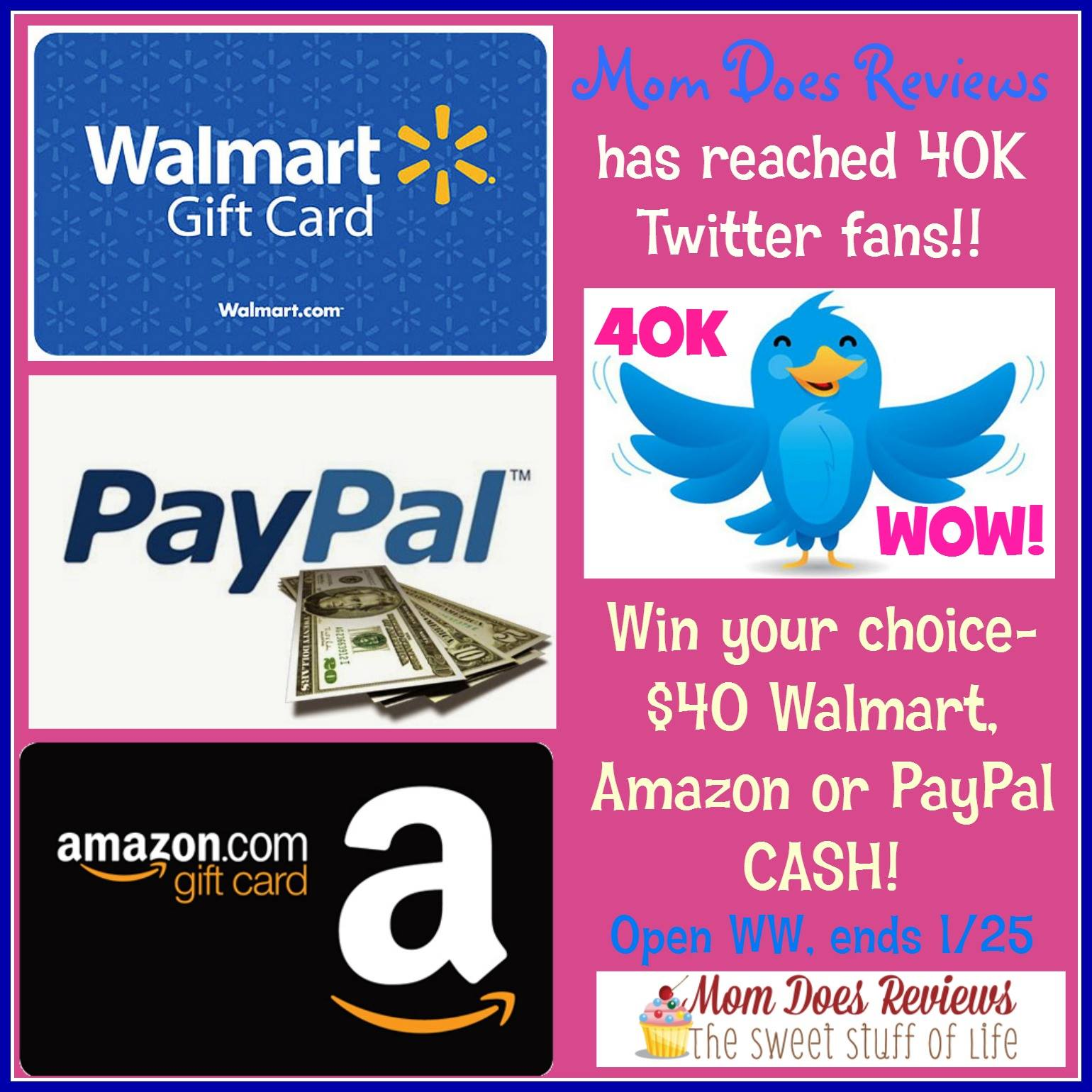 40 paypal walmart or amazon gift card giveaway ends 1 25 optimistic mommy. Black Bedroom Furniture Sets. Home Design Ideas