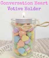 Do you love conversation hearts? They seem to reflect the Valentine's Day season quite well! This season, why not work a few into your crafting? Here is how you can create a Valentine's Day conversation hearts votive holder, perfect for displaying amongst your décor or for gift giving. | Optimistic Mommy
