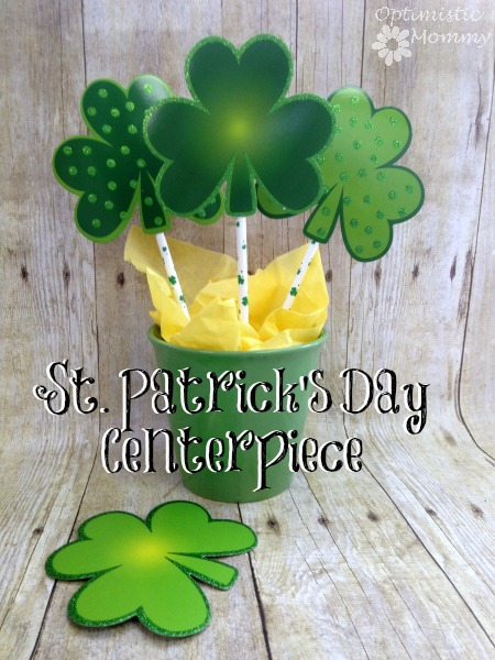St. Patrick's Day Centerpiece: Finding St. Patrick's Day décor can be a pricey endeavor, so why not try crafting your own instead? You can make a St. Patrick's Day centerpiece just like the one you see here, using supplies you can find at your local Dollar Tree and craft store. | Optimistic Mommy