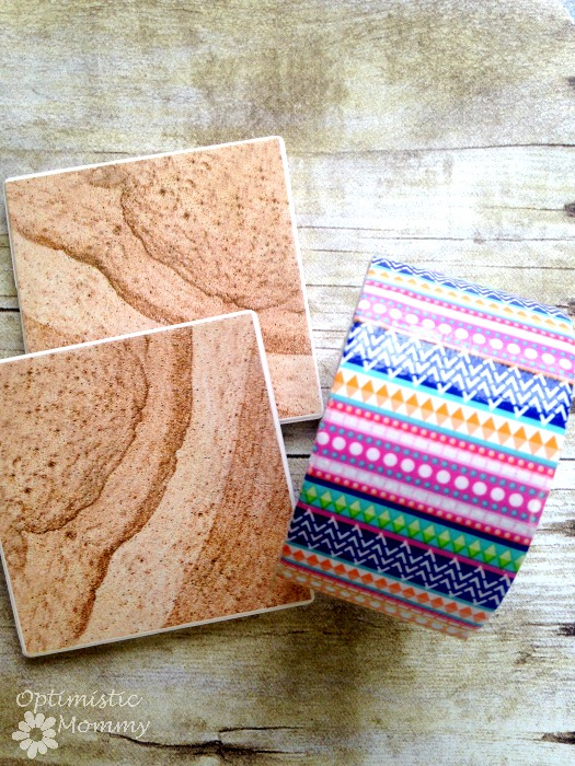 Washi Tape Coasters: Do you want to craft some custom coasters for your space? Or perhaps you want to freshen up some old coasters you already have. Whatever the case may be, take a look below at these easy DIY washi tape coasters you can try. | Optimistic Mommy