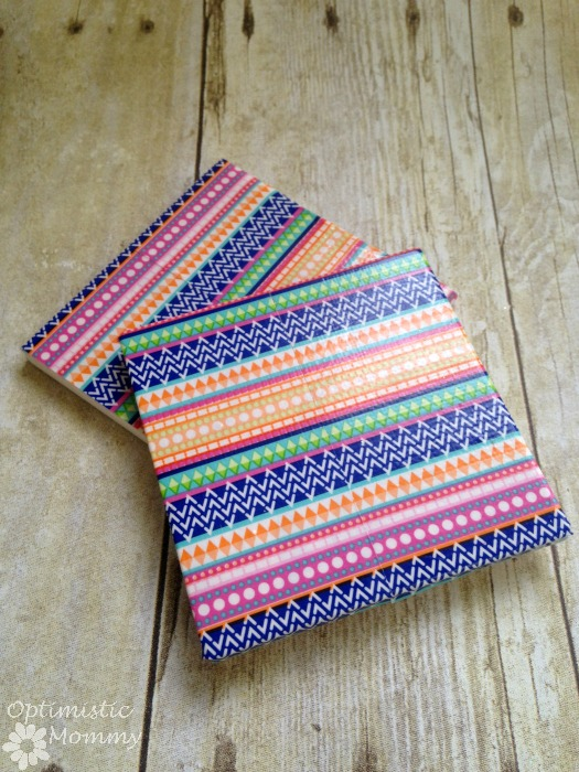 Washi Tape Coasters: Do you want to craft some custom coasters for your space? Or perhaps you want to freshen up some old coasters you already have. Whatever the case may be, take a look below at these easy DIY washi tape coasters you can try.   Optimistic Mommy