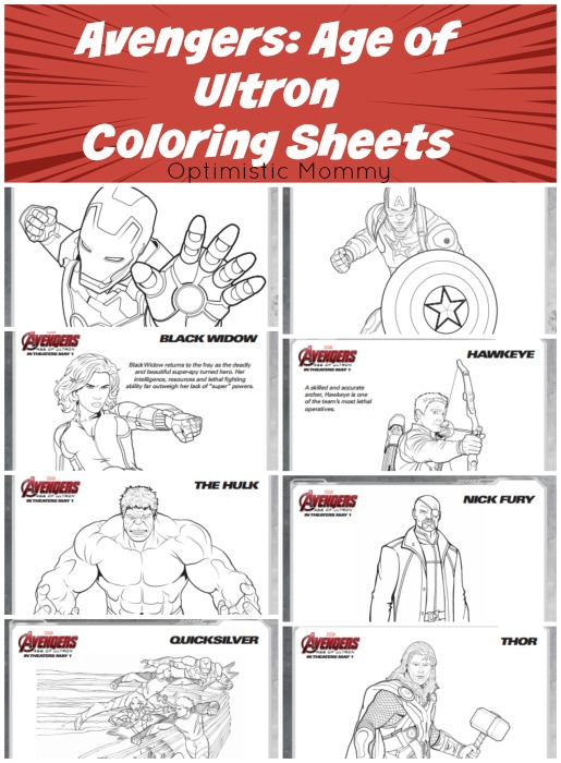AVENGERS: AGE OF ULTRON Coloring Sheets #Avengers #AgeOfUltron ...