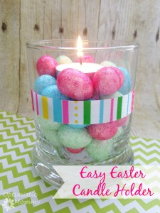 This simple and sweet Easter candle holder is the perfect craft for the coming holiday. I found all the supplies for my Easter candle holder at Dollar Tree. | Optimistic Mommy