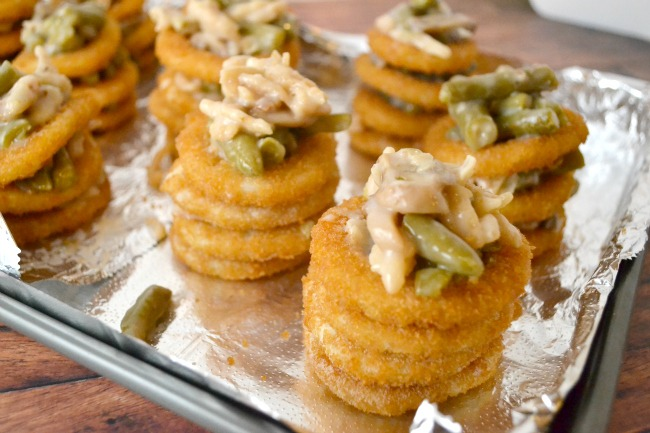 Green Bean Casserole Onion Stacks -01
