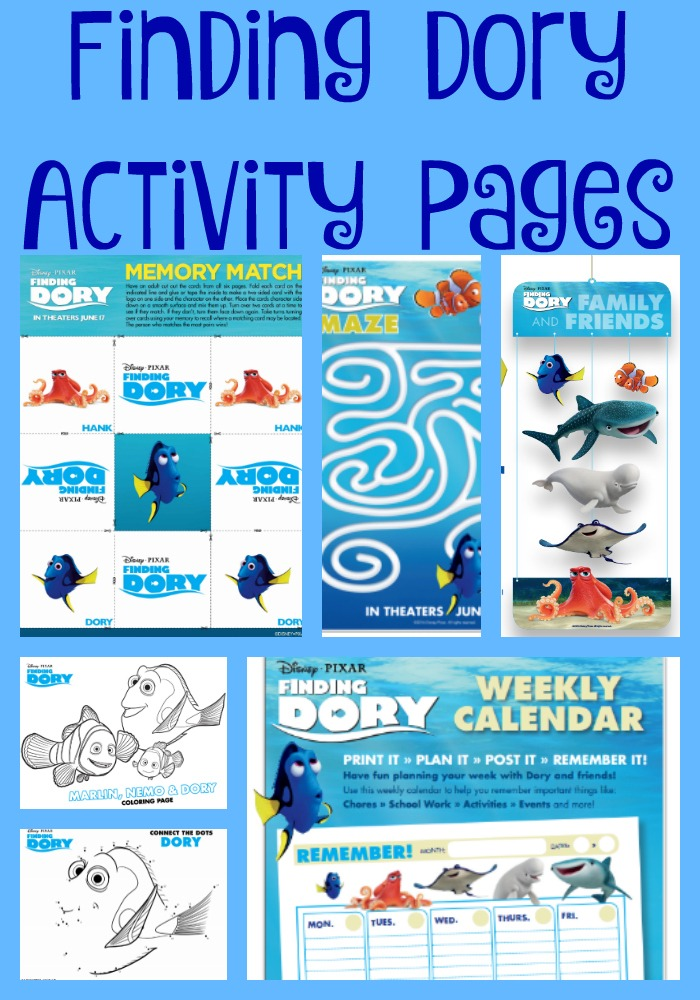 Have fun getting excited for the release of Finding Dory on June 17, 2016 with these activity pages! #FindingDory #HaveYouSeenHer