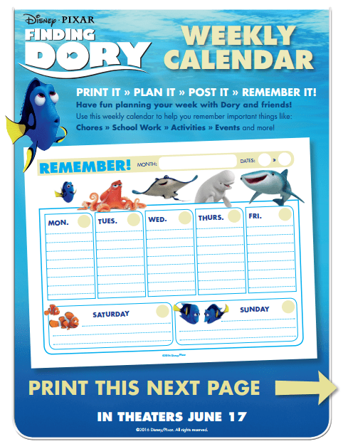 Finding Dory Printable - Weekly Calendar