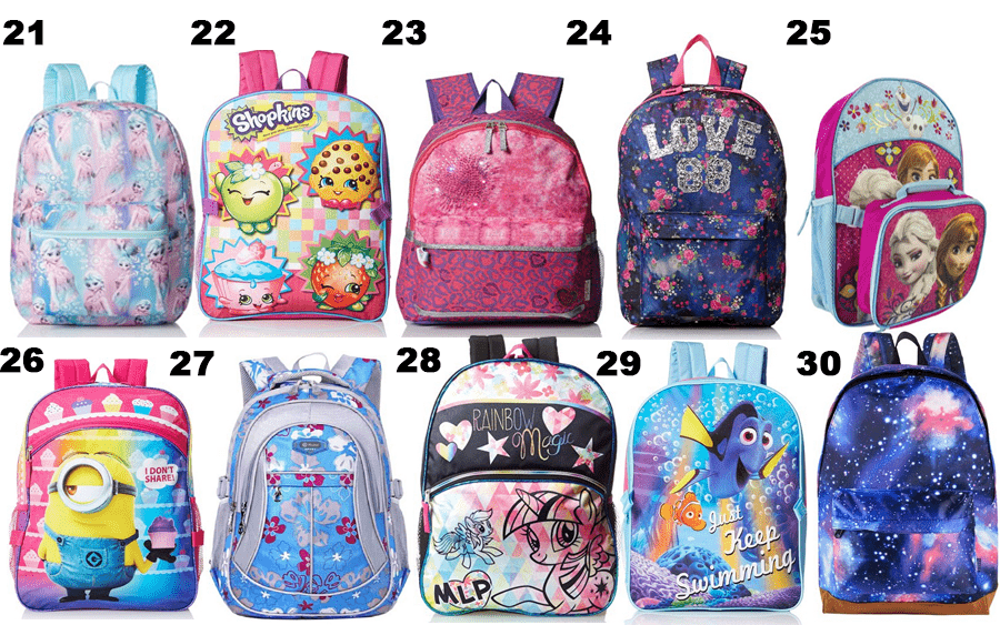 50 Girls Backpacks - Optimistic Mommy