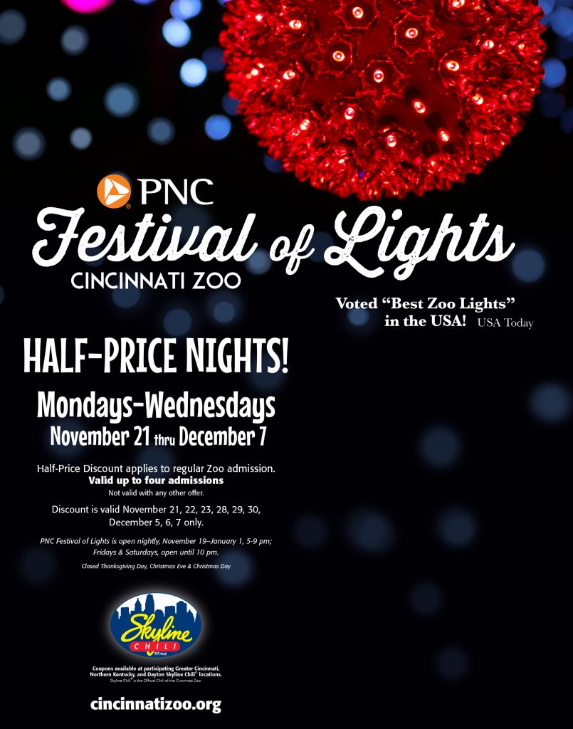 Get Half-Price tickets to the Festival of Lights at the Cincinnati Zoo thanks to coupons you can find at Skyline Chili restaurants.