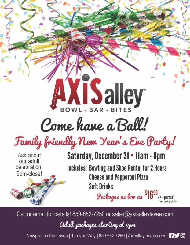 Join Axis alley for a family friendly NOON Year's Eve party!