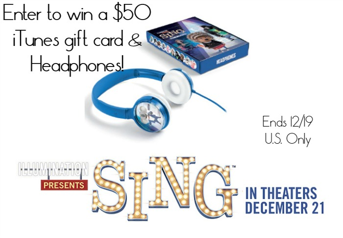 Don't miss your chance to enter to win a $50 iTunes gift card & Headphones to celebrate the release of Sing on December 21, 2016!
