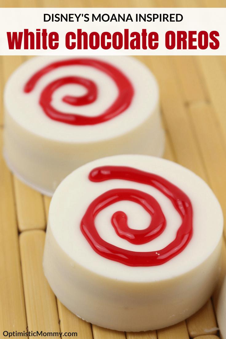 Disney Moana Inspired White Chocolate Oreos - This easy Oreo dessert is perfect for your family movie night!