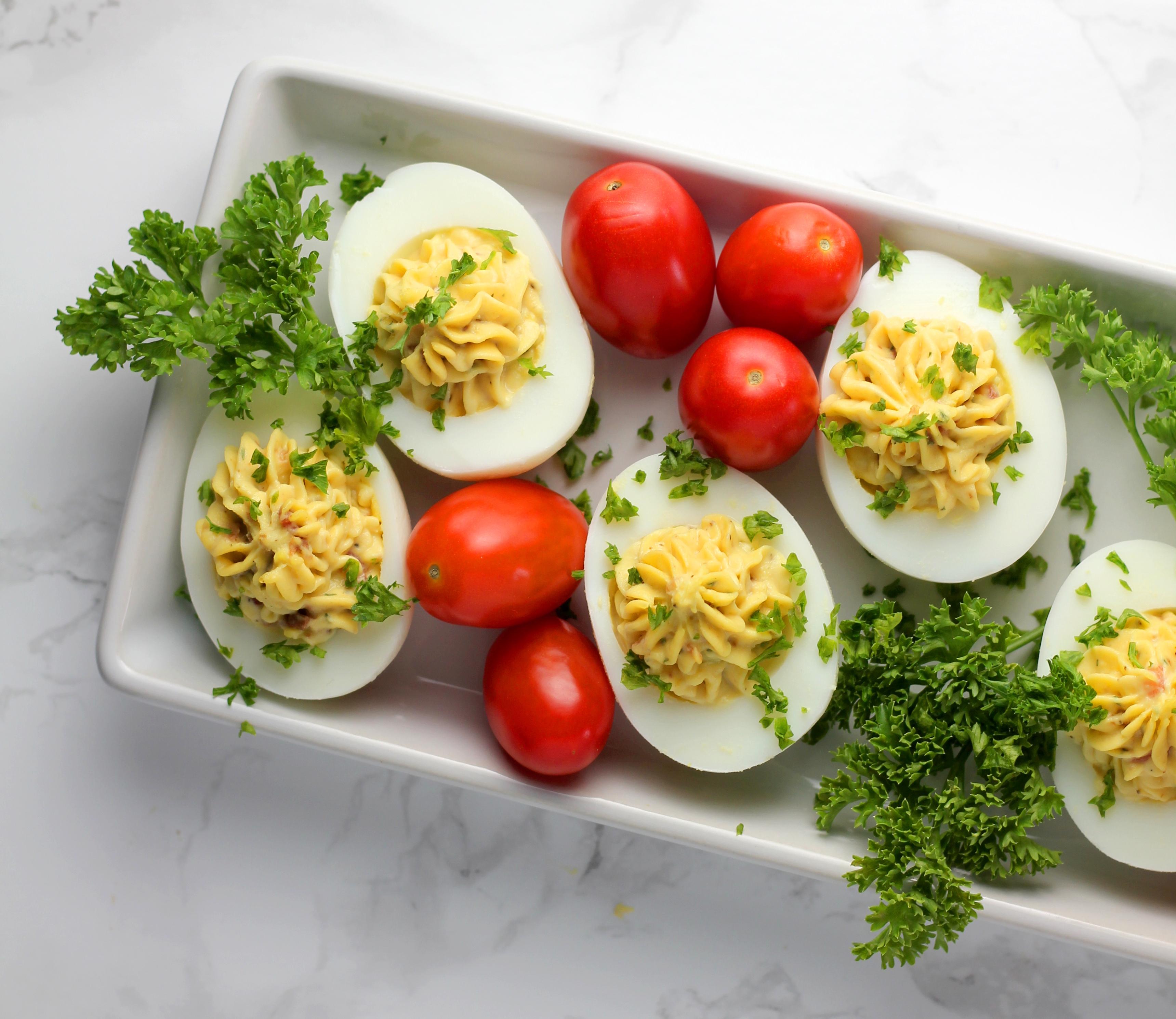 Tomato Bacon Ranch Deviled Eggs Recipe + Egg Tips & Info