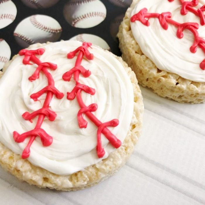 baseball shaped rice krispie treats