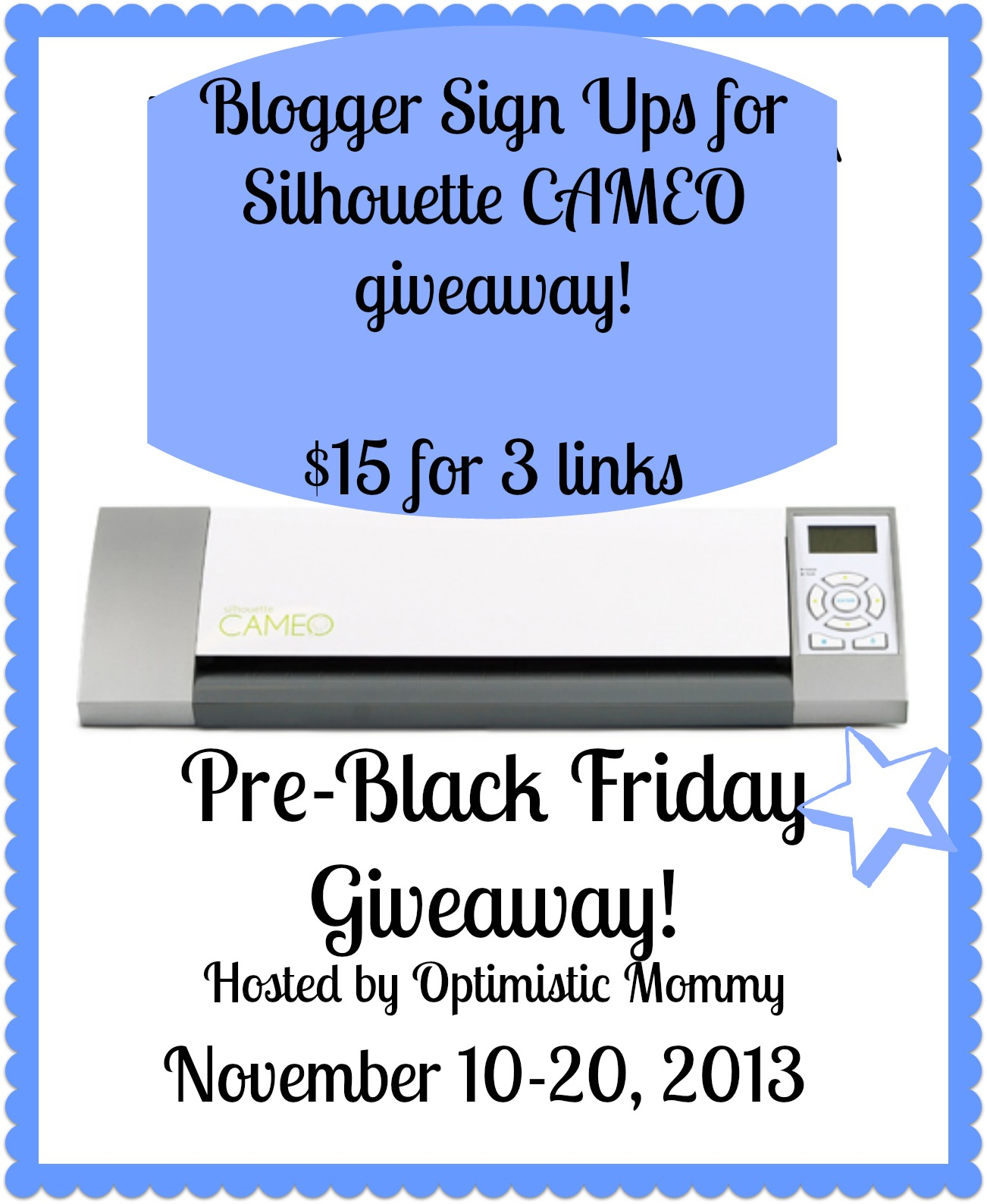 Blogger Opportunity: Pre-Black Friday Silhouette CAMEO Giveaway!  Just $15 for 3 links! #BloggerOpportunity