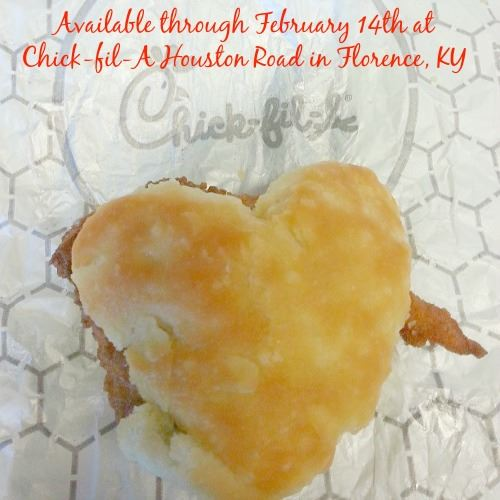 Heart-Shaped Chicken Biscuits available at Chick-fil-A Houston Road in Florence, Kentucky through February 14th! | Optimistic Mommy