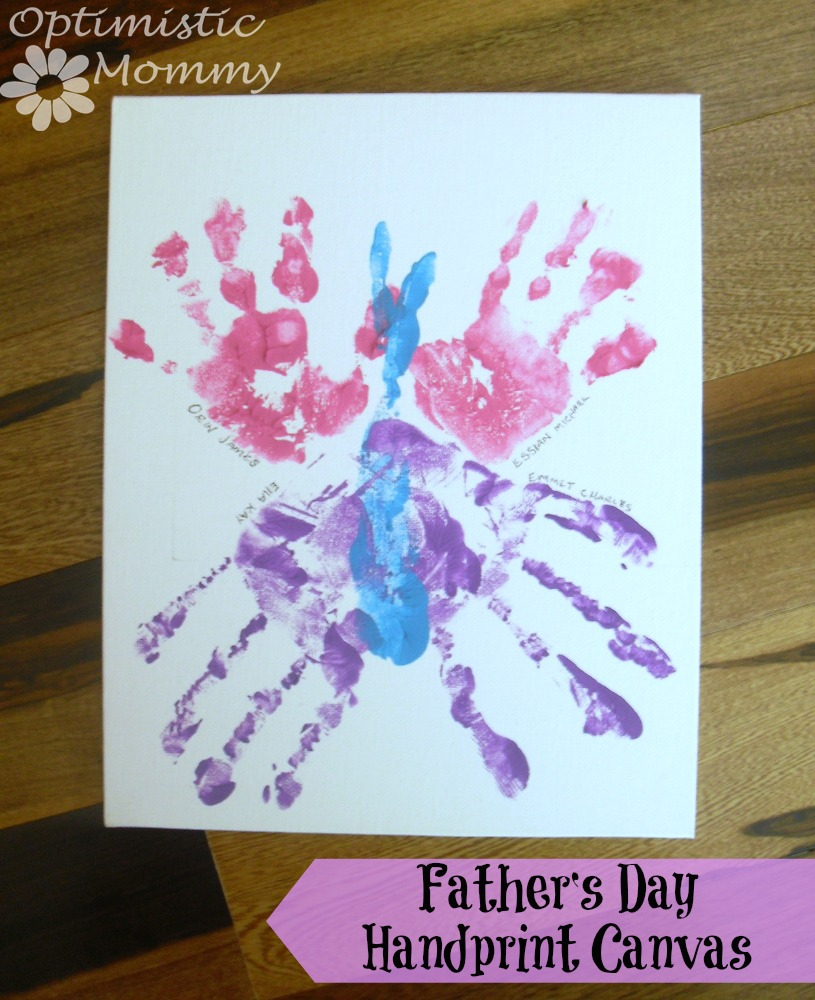 Fathers Day Crafts - Hand Print Canvas Gift for Dad | Optimistic Mommy