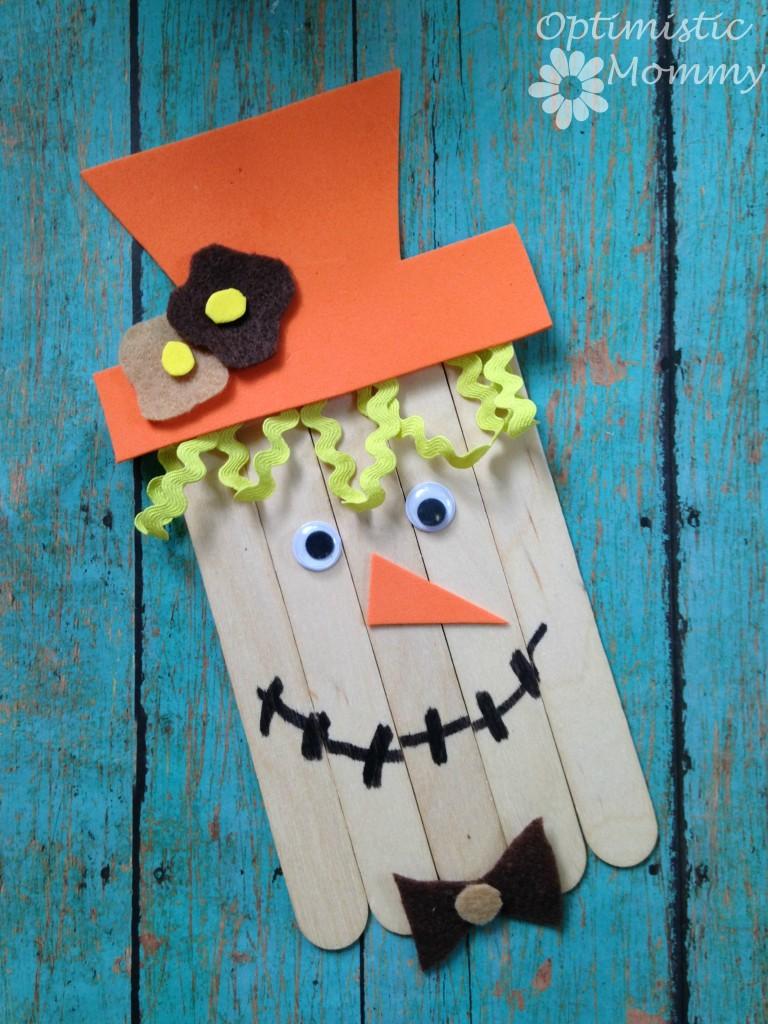 Fun Fall Craft: Craft Stick Scarecrow   Optimistic Mommy