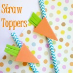 Carrot Straw Toppers: Add a little pop to your spring party when you craft these easy carrot straw toppers. These carrot straw toppers can be made with dollar store supplies and can be whipped up in just minutes. | Optimistic Mommy