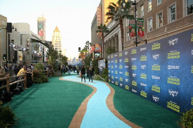 A view of the atmosphere at the World Premiere Of Disney-Pixar's THE GOOD DINOSAUR at the El Capitan Theatre on November 17, 2015 in Hollywood, California. (Photo by Jesse Grant/Getty Images for Disney)