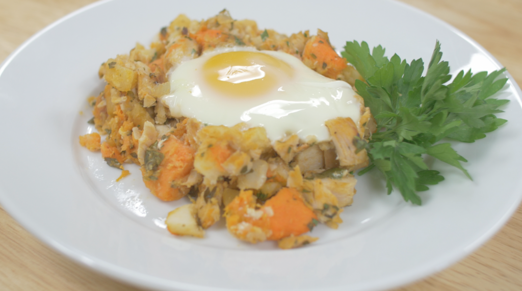 turkey-sweet-potato-hash-with-baked-eggs