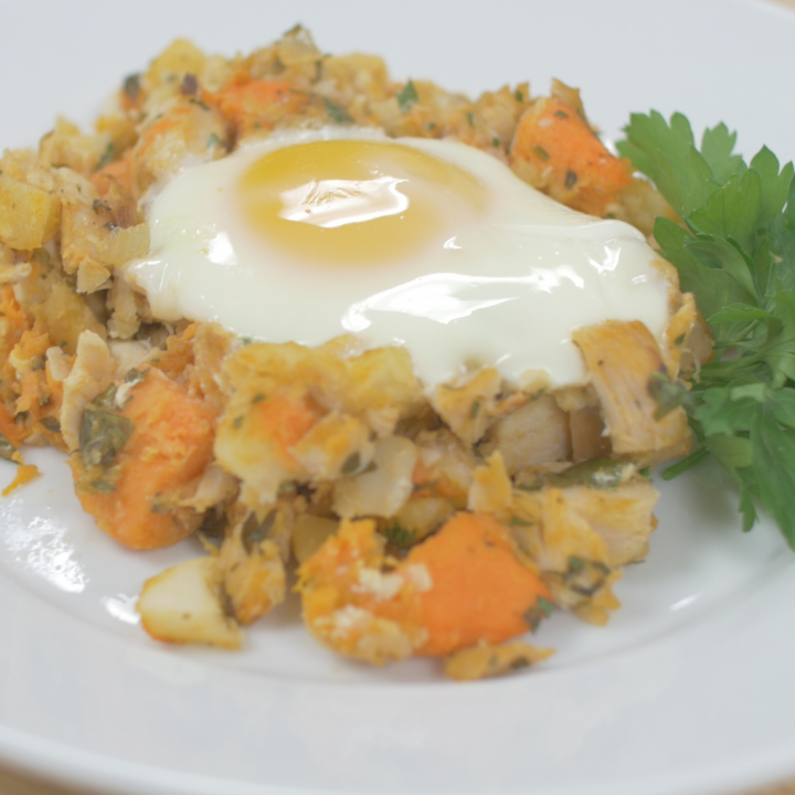 Turkey Sweet Potato Hash with Baked Eggs