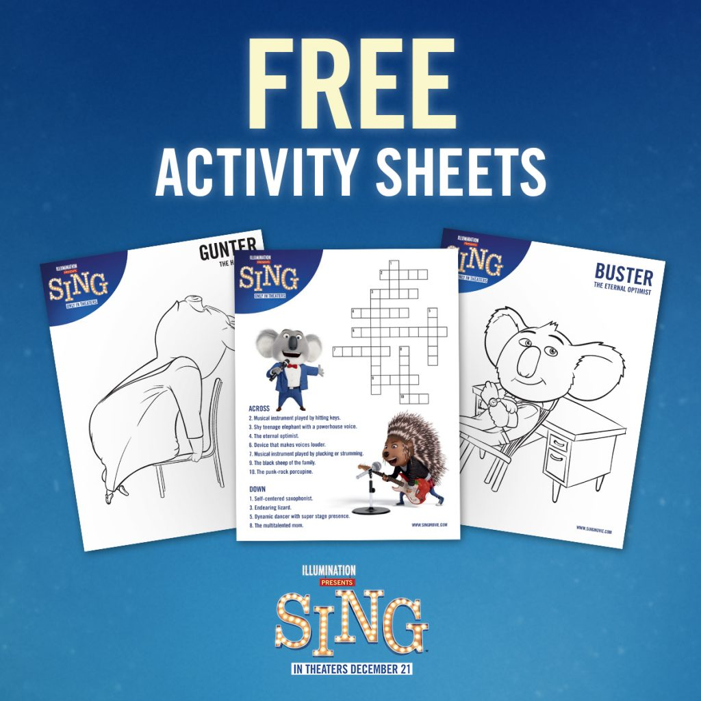 Get your children excited for the release of Sing this December 21st with these fun and free activity sheet printables!