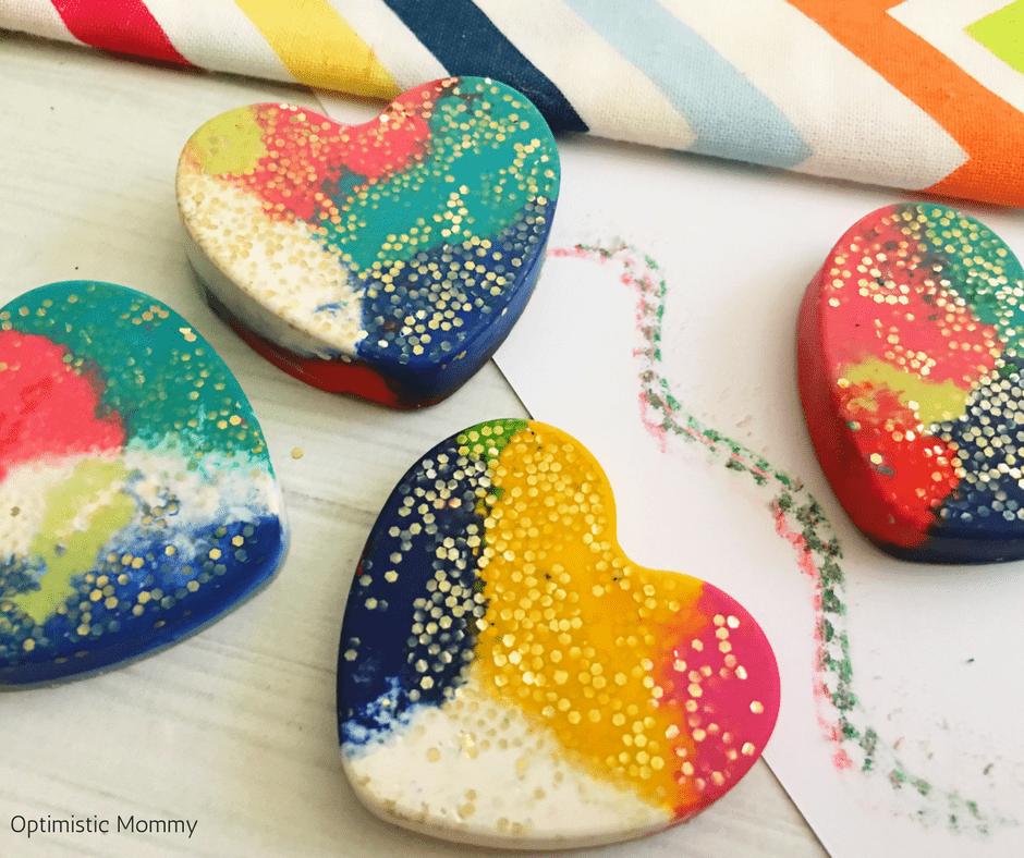 DIY Valentine Hearts Glitter Crayons