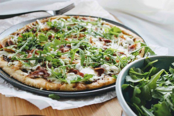 Keto Goat Cheese Pizza with Prosciutto and Arugula